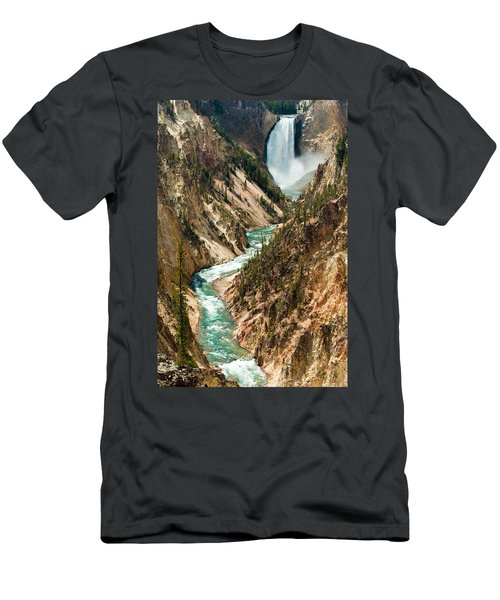 Yellowstone Waterfalls Men's T-Shirt (Athletic Fit)