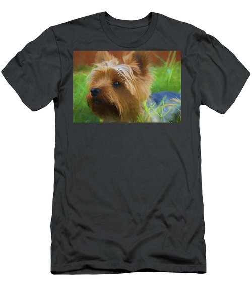 Men's T-Shirt (Athletic Fit) featuring the painting Yorkie In The Grass - Painting by Ericamaxine Price