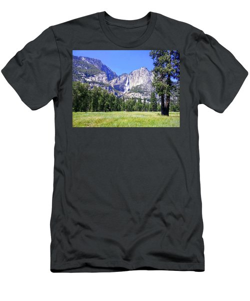 Yosemite Valley Waterfall Men's T-Shirt (Athletic Fit)