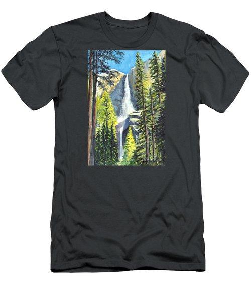 Yosemite Falls Watercolor Painting Men's T-Shirt (Slim Fit) by Carol Wisniewski