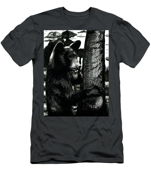 Young Black Bear In Tree  Men's T-Shirt (Athletic Fit)