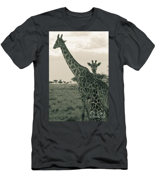 Young Giraffe With Mom In Sepia Men's T-Shirt (Slim Fit) by Darcy Michaelchuk