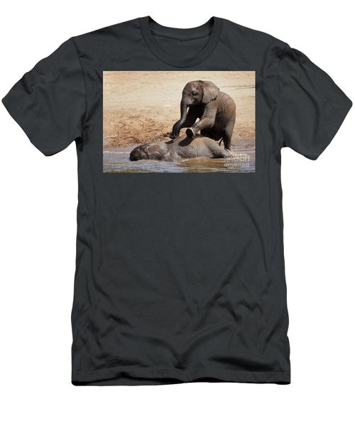 Men's T-Shirt (Athletic Fit) featuring the photograph Young Playful African Elephants by Nick Biemans