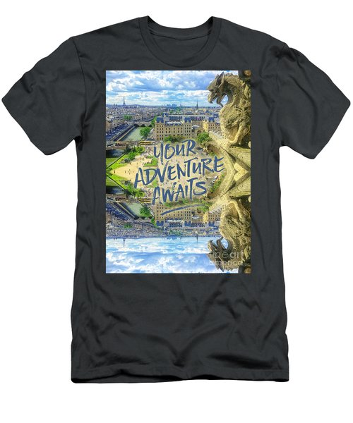 Your Adventure Awaits Notre-dame Cathedral Gargoyle Paris Men's T-Shirt (Athletic Fit)