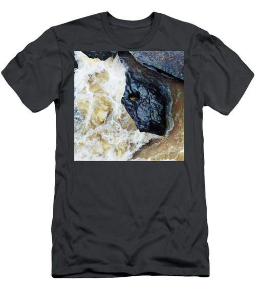 Yuba Blue Boulder In Stormy Waters Men's T-Shirt (Athletic Fit)