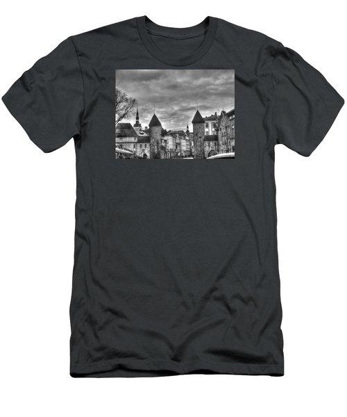 Men's T-Shirt (Slim Fit) featuring the pyrography Yury Bashkin Tallinn Black-and-white Look by Yury Bashkin