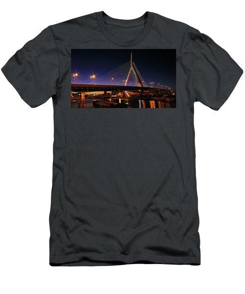 Zakim Bridge Boston Massachusetts At Night Men's T-Shirt (Athletic Fit)
