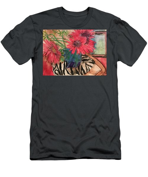 Zebra And Red Sunflowers  Men's T-Shirt (Athletic Fit)