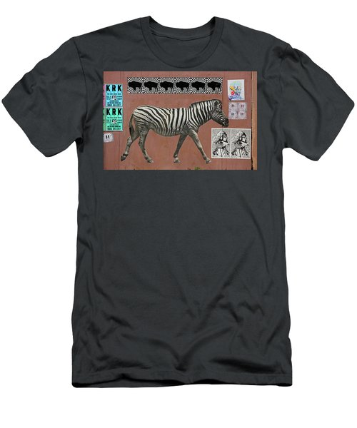 Men's T-Shirt (Slim Fit) featuring the photograph Zebra Collage by Art Block Collections