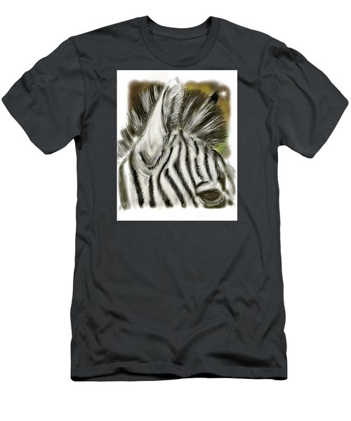 Men's T-Shirt (Athletic Fit) featuring the digital art Zebra Digital by Darren Cannell