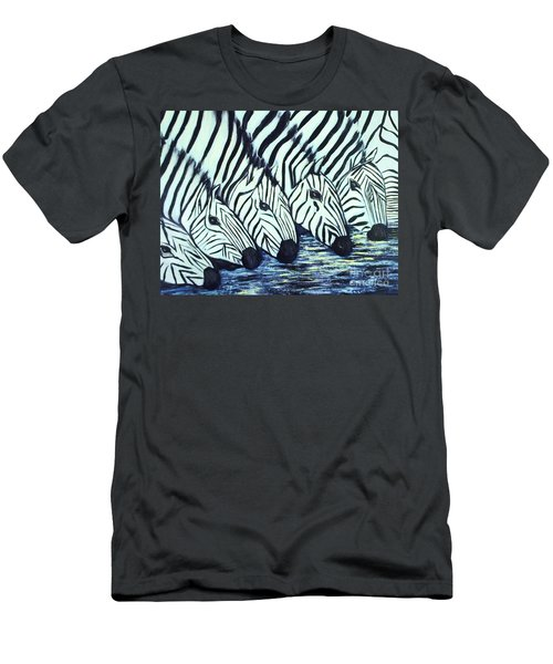 Men's T-Shirt (Slim Fit) featuring the painting Zebra Line by Donna Dixon
