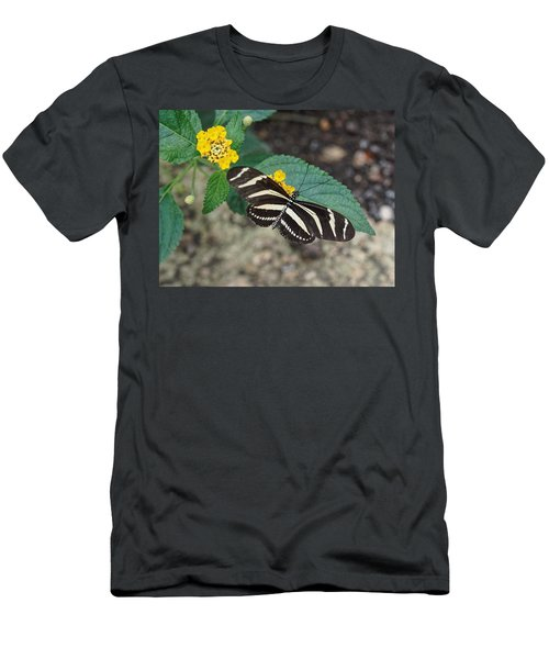 Men's T-Shirt (Athletic Fit) featuring the photograph Zebra Longwing Butterfly - 1 by Paul Gulliver