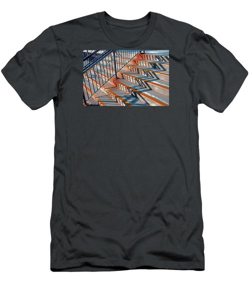 Men's T-Shirt (Slim Fit) featuring the photograph Zig Zag Shadows On Train Station Steps by Gary Slawsky