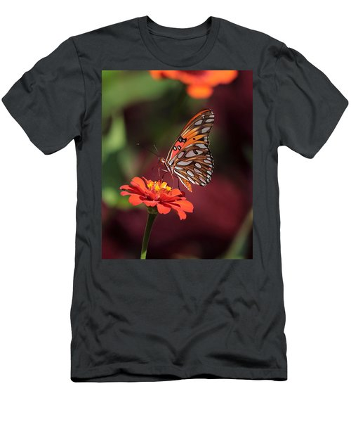 Zinnia With Butterfly 2668 Men's T-Shirt (Athletic Fit)