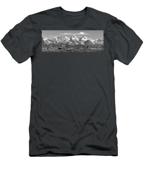 Mormon Row Moulton Barn Black And White Panorama Men's T-Shirt (Slim Fit) by Adam Jewell