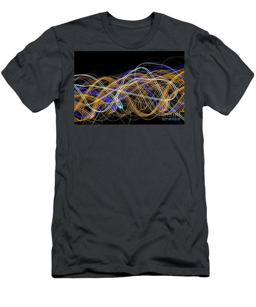 Colorful Light Painting With Circular Shapes And Abstract Black Background. Men's T-Shirt (Athletic Fit)