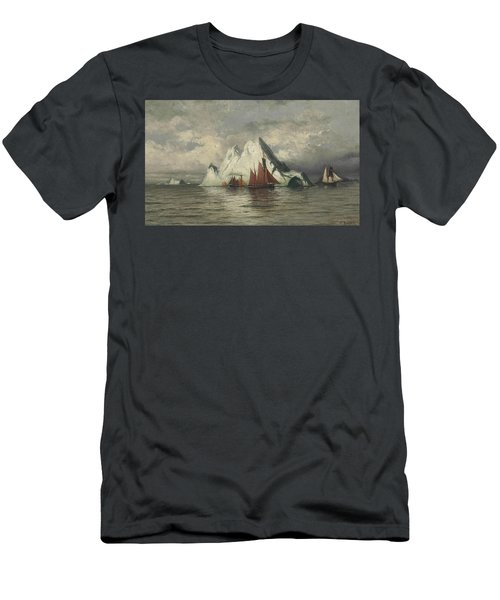 Men's T-Shirt (Athletic Fit) featuring the painting Fishing Boats And Icebergs by William Bradford
