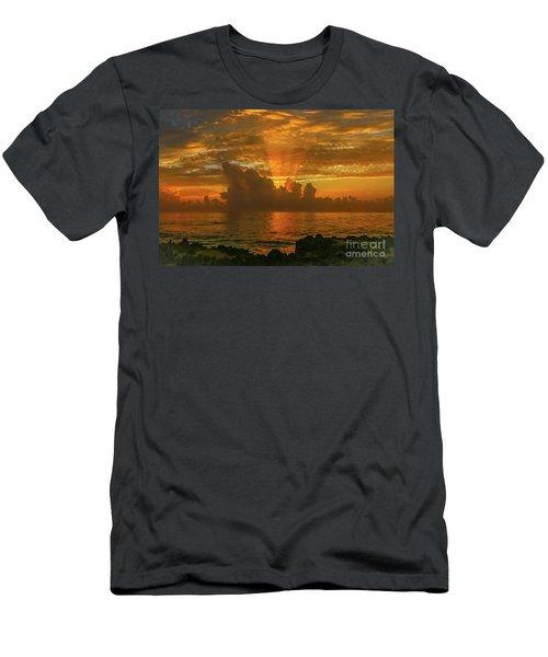 Orange Sun Rays Men's T-Shirt (Athletic Fit)