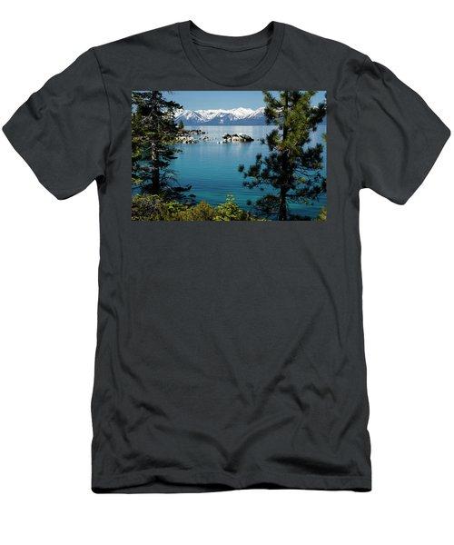 Rocks In A Lake With Mountain Range Men's T-Shirt (Athletic Fit)