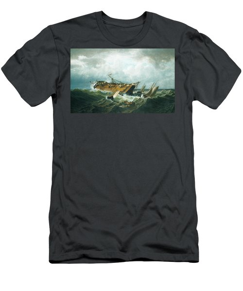 Men's T-Shirt (Athletic Fit) featuring the painting Shipwreck Off Nantucket by William Bradford