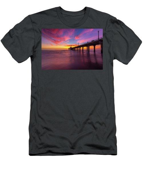 Stunning Sunset At Manhattan Beach Pier Men's T-Shirt (Athletic Fit)