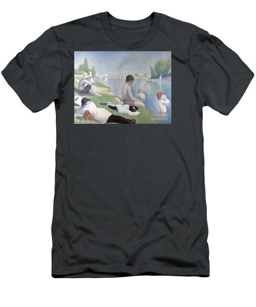 Men's T-Shirt (Athletic Fit) featuring the painting Bathers At Asnieres by Georges Seurat