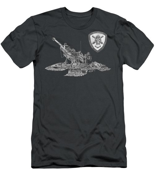 Men's T-Shirt (Athletic Fit) featuring the drawing 10th Marines 777 by Betsy Hackett