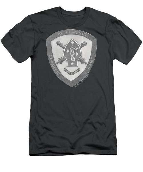 Men's T-Shirt (Athletic Fit) featuring the painting 10th Marines Crest by Betsy Hackett