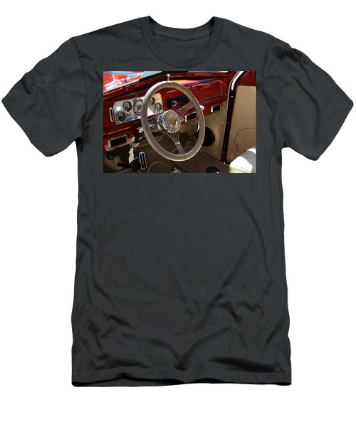Men's T-Shirt (Athletic Fit) featuring the photograph 1938 Pontiac Silver Streak Interior by Debi Dalio