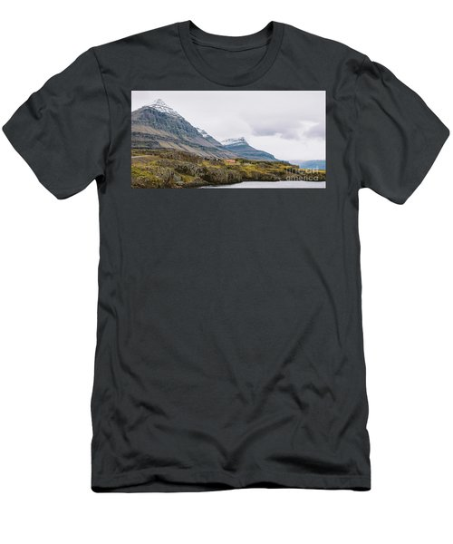 High Icelandic Or Scottish Mountain Landscape With High Peaks And Dramatic Colors Men's T-Shirt (Athletic Fit)