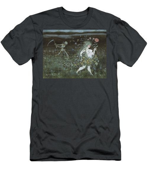 Men's T-Shirt (Athletic Fit) featuring the drawing Life And Death by Ivar Arosenius