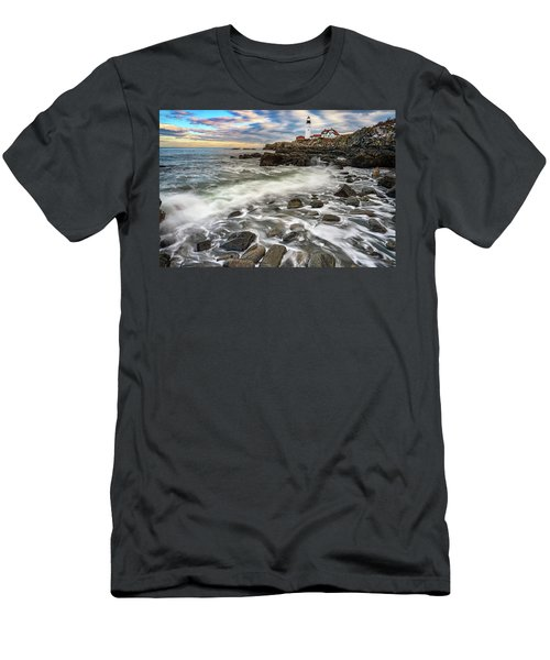 Men's T-Shirt (Athletic Fit) featuring the photograph Rising Tide At Portland Head by Rick Berk