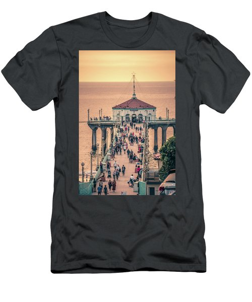 Men's T-Shirt (Athletic Fit) featuring the photograph Sunset On Huntington Beach California by Alex Grichenko