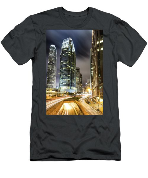 Hong Kong Night Rush Men's T-Shirt (Athletic Fit)