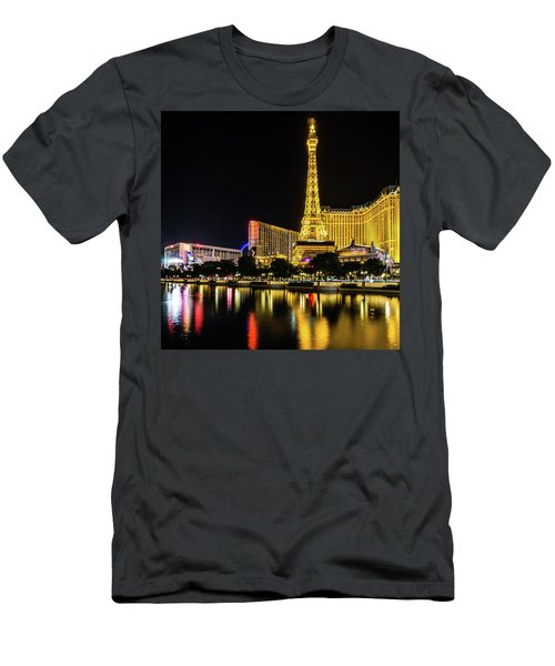 Men's T-Shirt (Athletic Fit) featuring the photograph Nigh Life And City Skyline In Las Vegas Nevada by Alex Grichenko