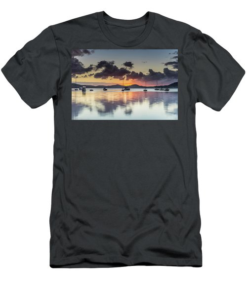 Overcast Morning On The Bay With Boats Men's T-Shirt (Athletic Fit)