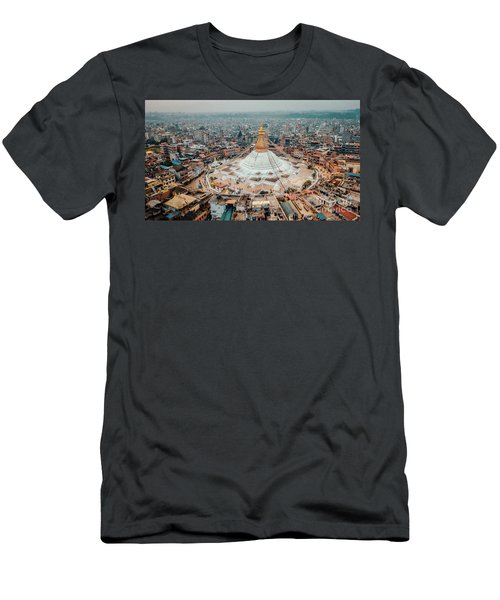 Stupa Temple Bodhnath Kathmandu, Nepal From Air October 12 2018 Men's T-Shirt (Athletic Fit)