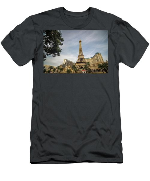 Men's T-Shirt (Athletic Fit) featuring the photograph View On The Replica Of Eiffel Tower At Paris Hotel   by Alex Grichenko