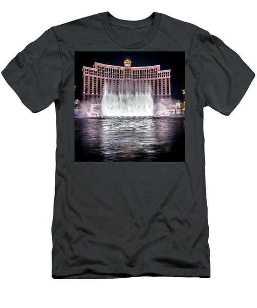 Men's T-Shirt (Athletic Fit) featuring the photograph World Famous Fountain Water Show In Las Vegas Nevada by Alex Grichenko