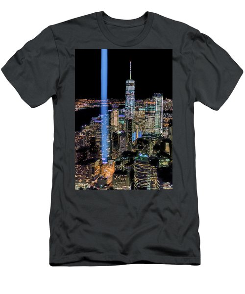 Men's T-Shirt (Athletic Fit) featuring the photograph 911 Lights by Francisco Gomez
