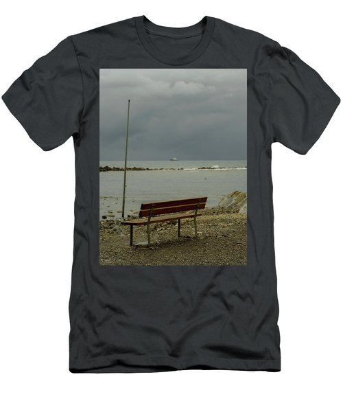 A Bench On Which To Expect, By The Sea Men's T-Shirt (Athletic Fit)