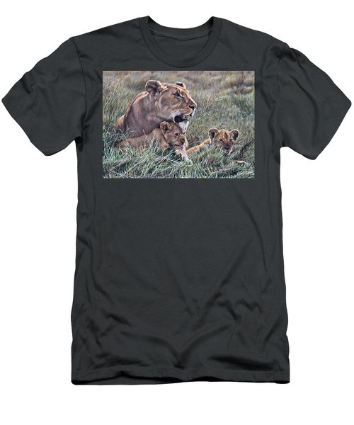 Men's T-Shirt (Athletic Fit) featuring the painting A Quiet Moment Lioness And Lion Cubs by Alan M Hunt