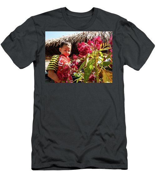A Small Person With Reflected Flowers Men's T-Shirt (Athletic Fit)