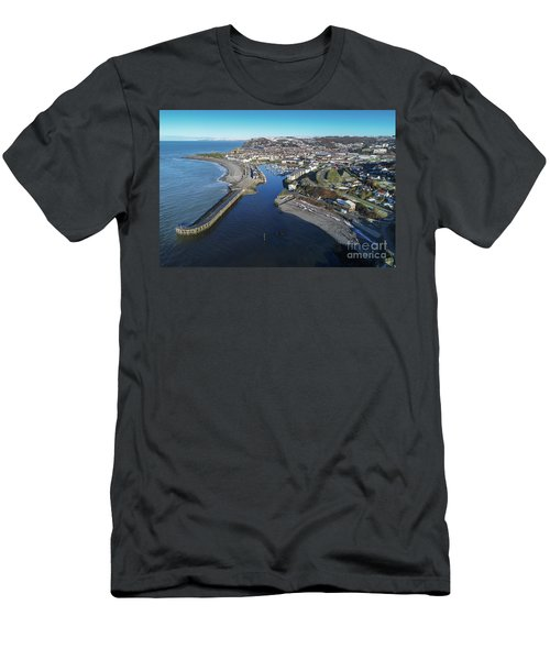 Aberystwyth Harbour From The Air In Winter Men's T-Shirt (Athletic Fit)