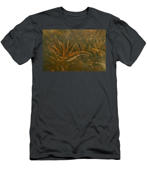 Abstract Brown/orange Floral In Encaustic Men's T-Shirt (Athletic Fit)