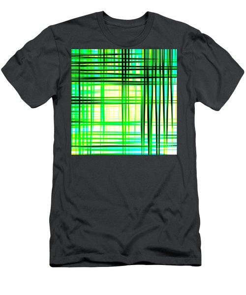 Abstract Design With Lines Squares In Green Color Waves - Pl409 Men's T-Shirt (Athletic Fit)