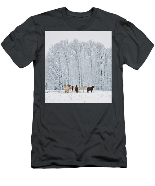 Add A Touch Of Horses To The Winter Magic Men's T-Shirt (Athletic Fit)