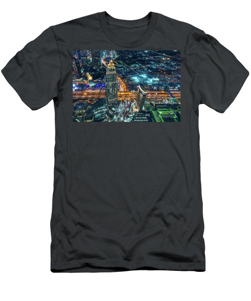 Aerial View Of Dubai At Night Men's T-Shirt (Athletic Fit)