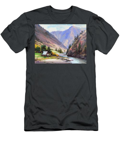 Men's T-Shirt (Athletic Fit) featuring the painting Along The Salmon River by Steve Henderson