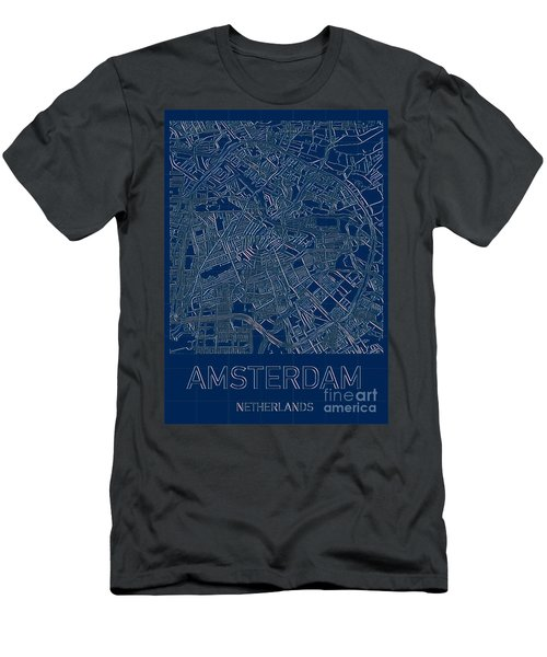 Amsterdam Blueprint City Map Men's T-Shirt (Athletic Fit)